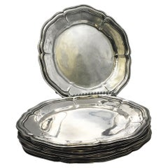 Set of 11 Buccellati Sterling Silver Dessert Plates Chargers Platters