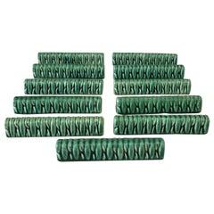 Set of 11 Green Majolica Knife Rests Vallauris, circa 1950