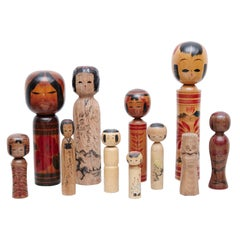 "Set of 11 ""Kokeshi"" Dolls"