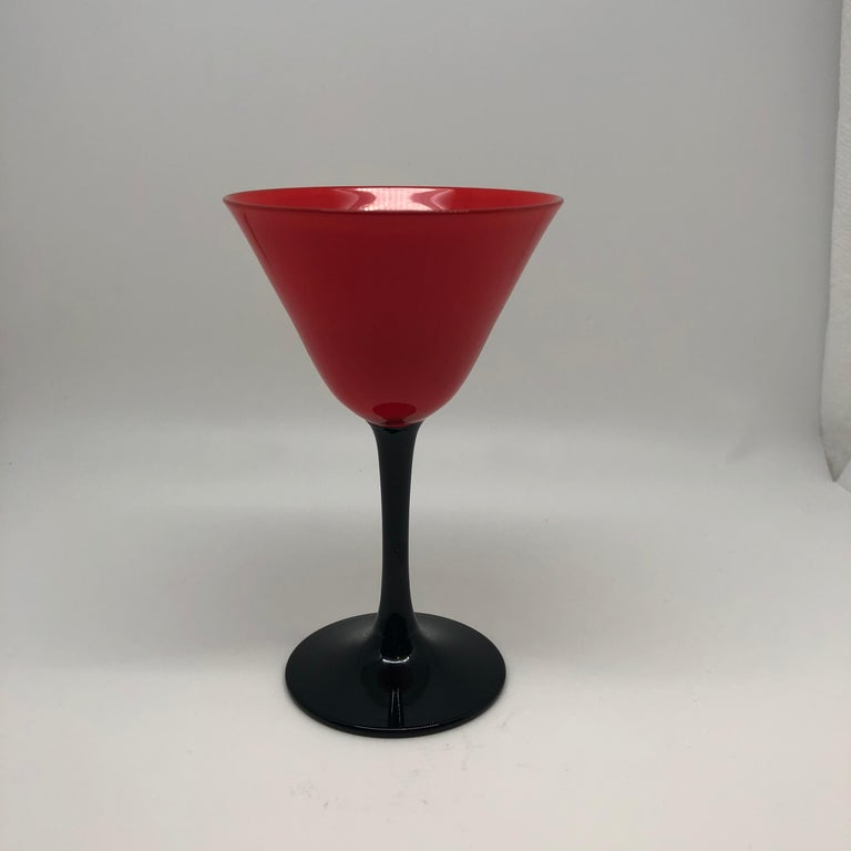 Other Set of 11 Pairpoint Art Deco Stemware Glasses with Red Tops and Black Stems For Sale