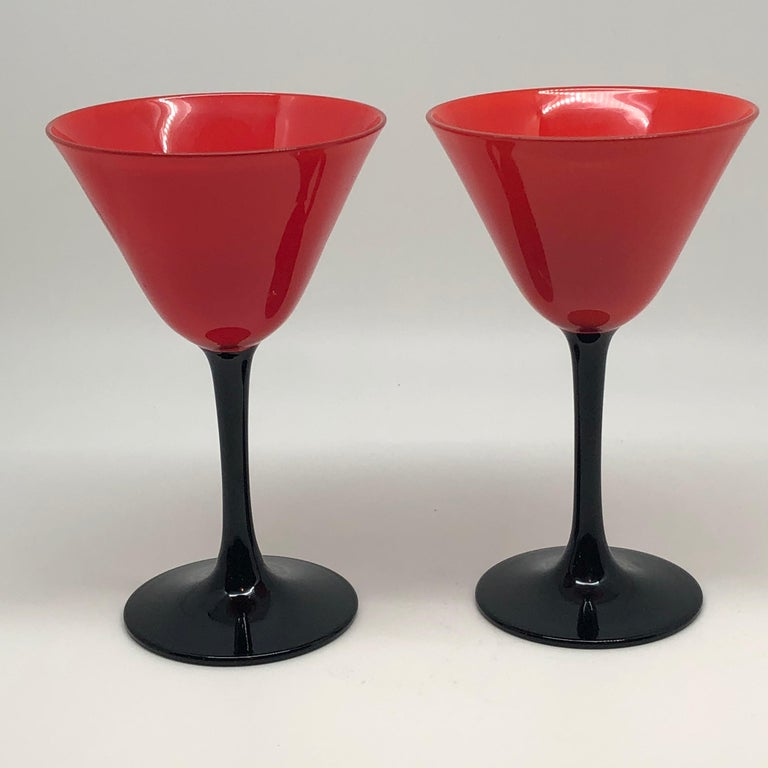 Set of 11 Pairpoint Art Deco Stemware Glasses with Red Tops and Black Stems In Good Condition For Sale In Boston, MA