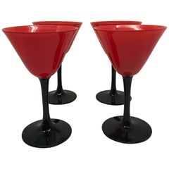 Set of 11 Pairpoint Art Deco Stemware Glasses with Red Tops and Black Stems