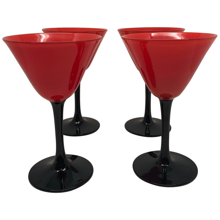 Set of 11 Pairpoint Art Deco Stemware Glasses with Red Tops and Black Stems For Sale
