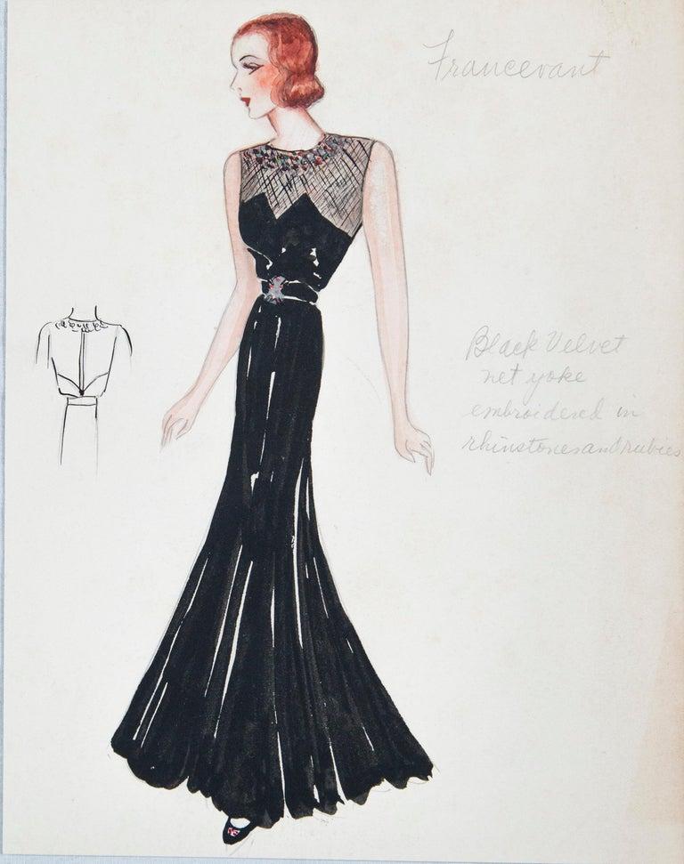 Set of 11 Paris Fashion Drawings, circa 1930 For Sale 3
