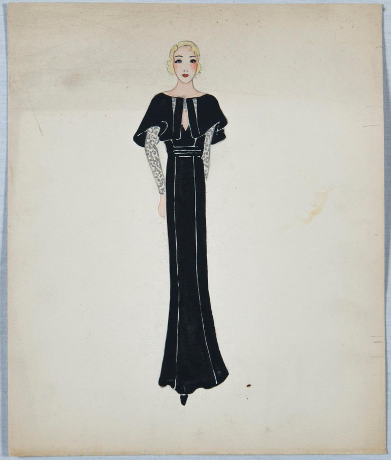 Charming artist's set of eleven 1930s fashion drawings/watercolors from Paris. Drawing are done on heavy card stock. Patou, Gaston, Molyneaux are named designers. They are various sizes. Three are approximately 7.5 x 10. Eight are approximately 9.5
