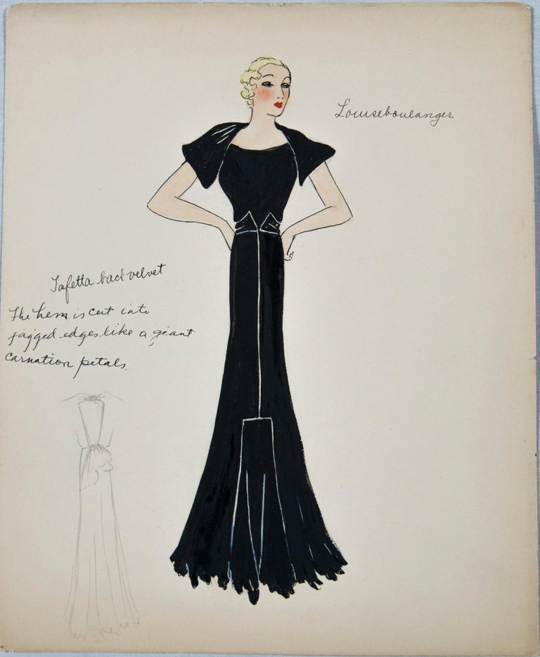 French Set of 11 Paris Fashion Drawings, circa 1930 For Sale