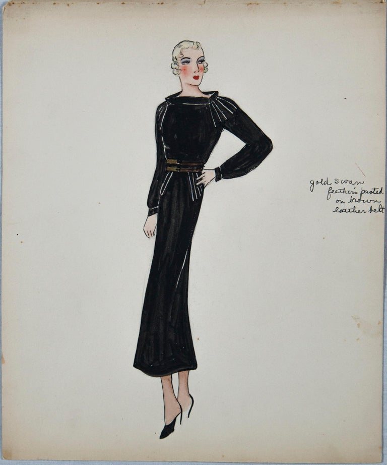 Hand-Painted Set of 11 Paris Fashion Drawings, circa 1930 For Sale