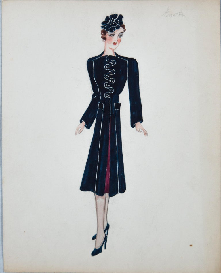 Set of 11 Paris Fashion Drawings, circa 1930 In Fair Condition For Sale In Stamford, CT
