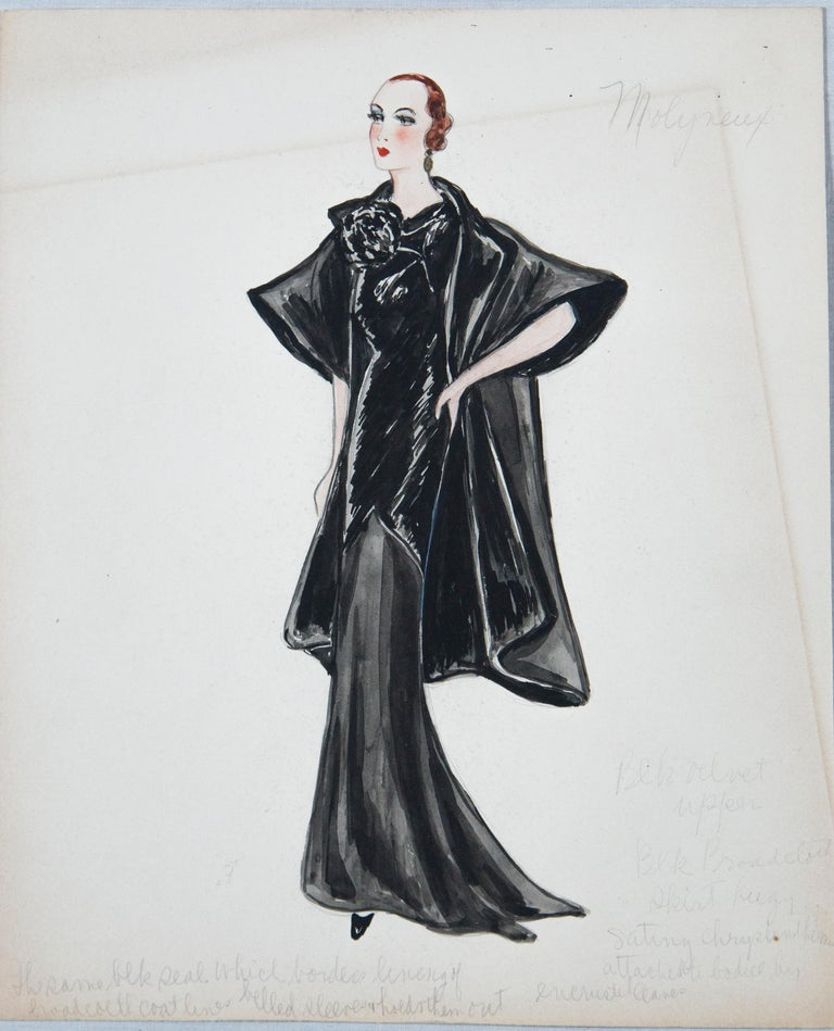 Mid-20th Century Set of 11 Paris Fashion Drawings, circa 1930 For Sale