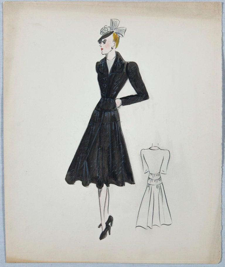Paper Set of 11 Paris Fashion Drawings, circa 1930 For Sale