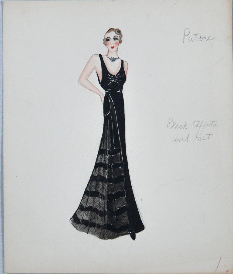 Set of 11 Paris Fashion Drawings, circa 1930 For Sale 2