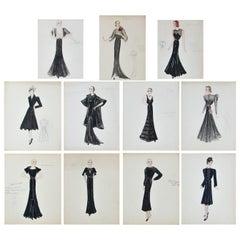 Set of 11 Paris Fashion Drawings, circa 1930