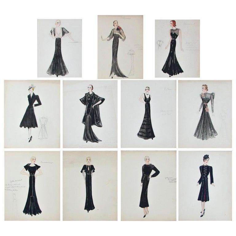 Set of 11 Paris Fashion Drawings, circa 1930 For Sale
