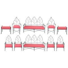 Set of 11 Pieces of Vintage Cast Iron Porch Furniture