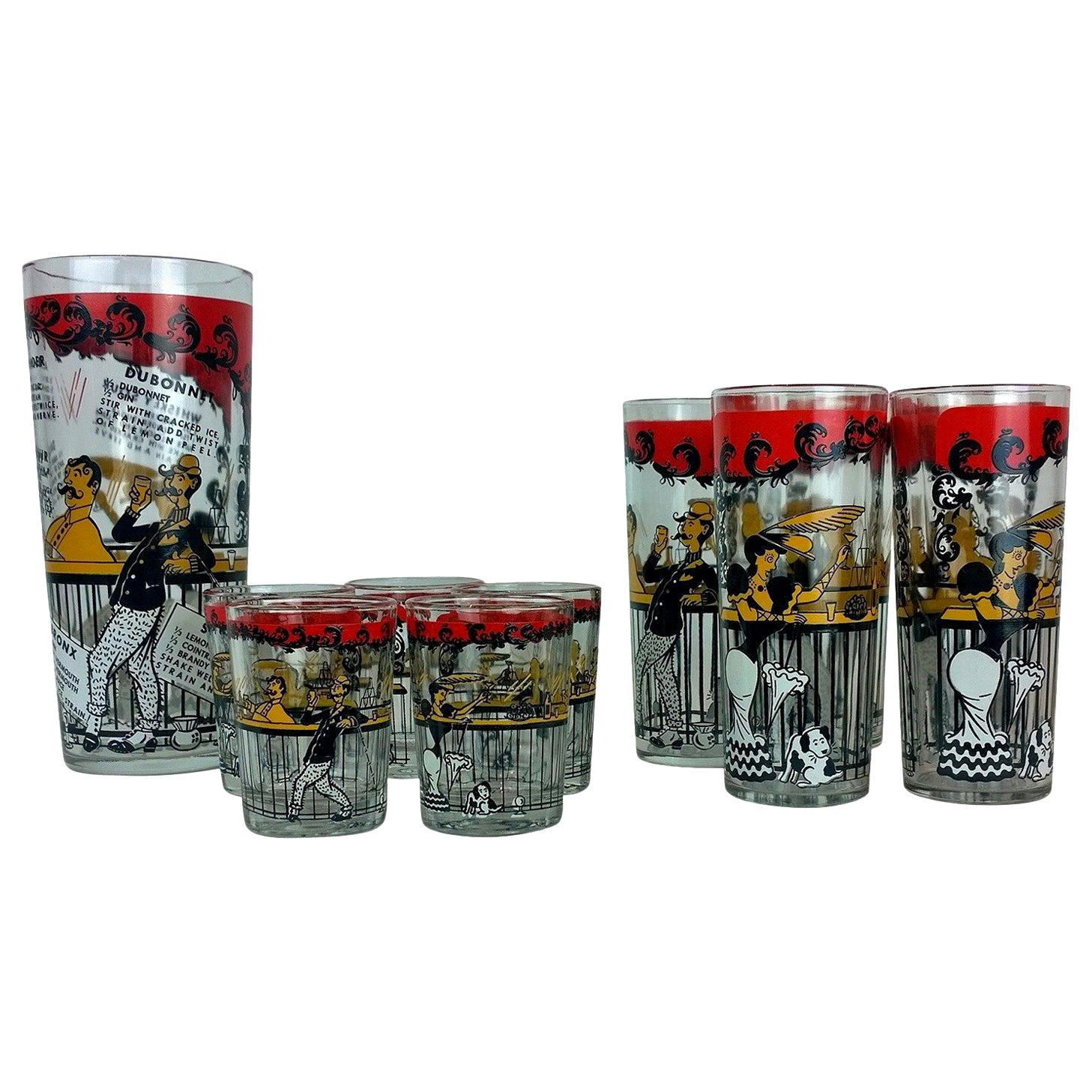 Set of 11 Red, Black & Gold Moulin Rouge Theme Overlay Cocktail Glasses & Shaker