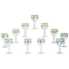 Set of 11 Signed Orrefors Handpainted Enamel Goblets W/ Whimsical Decoration