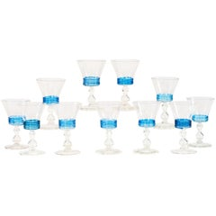 Set of 11 Venetian Murano Handblown Wine Goblets with Applied Turquoise Reeding
