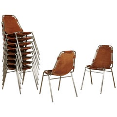 Set of 12 / 10 / 8 / 6 'Les Arcs' Chairs Selected by Charlotte Perriand, 1970s