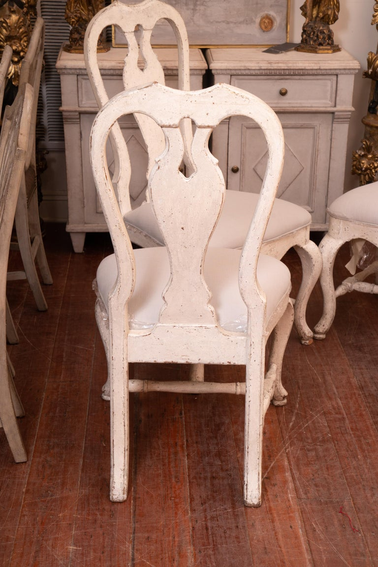 Scandinavian Set of 12 19th Century Painted Dining Chairs For Sale