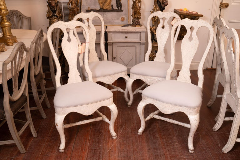 Wood Set of 12 19th Century Painted Dining Chairs For Sale