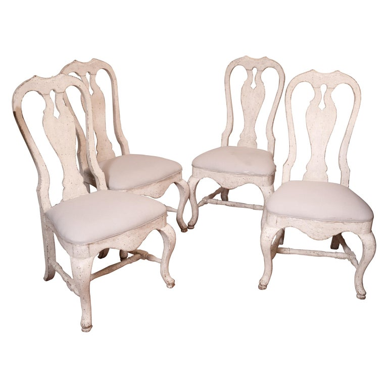 Set of 12 19th Century Painted Dining Chairs For Sale