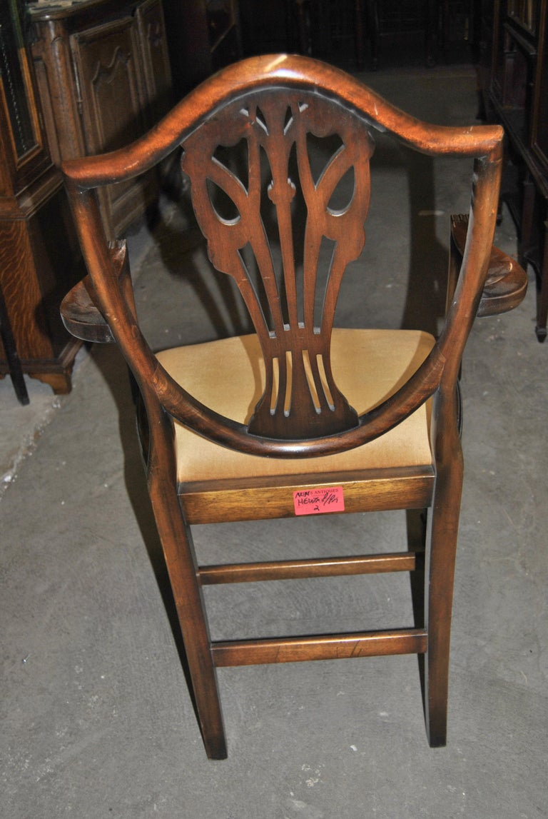 1950s Set of 12 20th Century English Mahogany Hepplewhite Style Shield Back Chairs For Sale