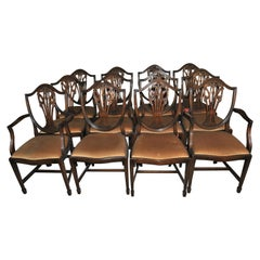 Set of 12 20th Century English Mahogany Hepplewhite Style Shield Back Chairs