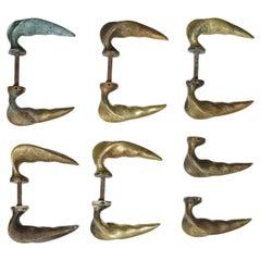Set of 12 50's Italian Bronze Door Handles, D413