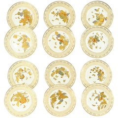 Set of 12 Aesthetic Movement Hand-Painted Fruit Raised Gold Cabinet Plates