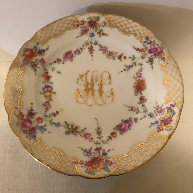 German Set of 12 Ambrosius Lamm Dresden Dessert Plates Painted with Ribbons of Flowers