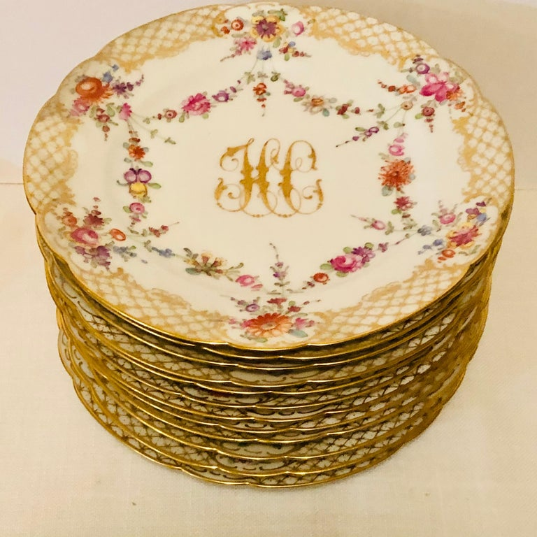 Hand-Painted Set of 12 Ambrosius Lamm Dresden Dessert Plates Painted with Ribbons of Flowers