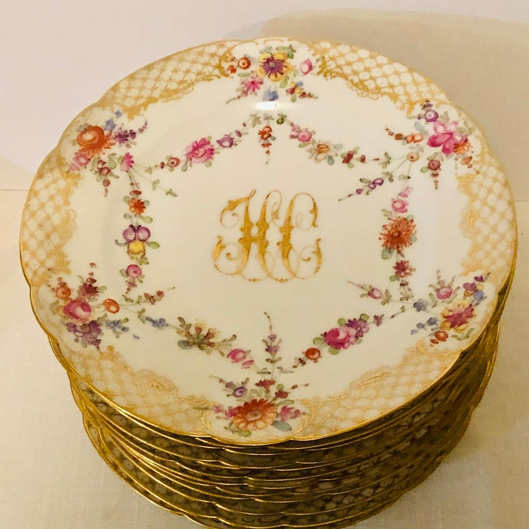 Set of 12 Ambrosius Lamm Dresden Dessert Plates Painted with Ribbons of Flowers In Good Condition In Boston, MA