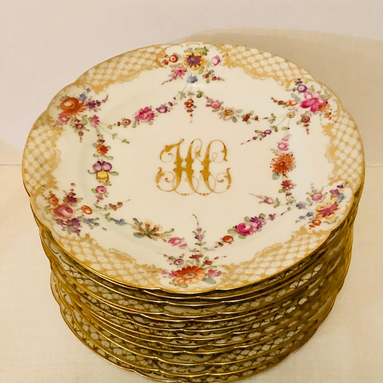 Early 20th Century Set of 12 Ambrosius Lamm Dresden Dessert Plates Painted with Ribbons of Flowers