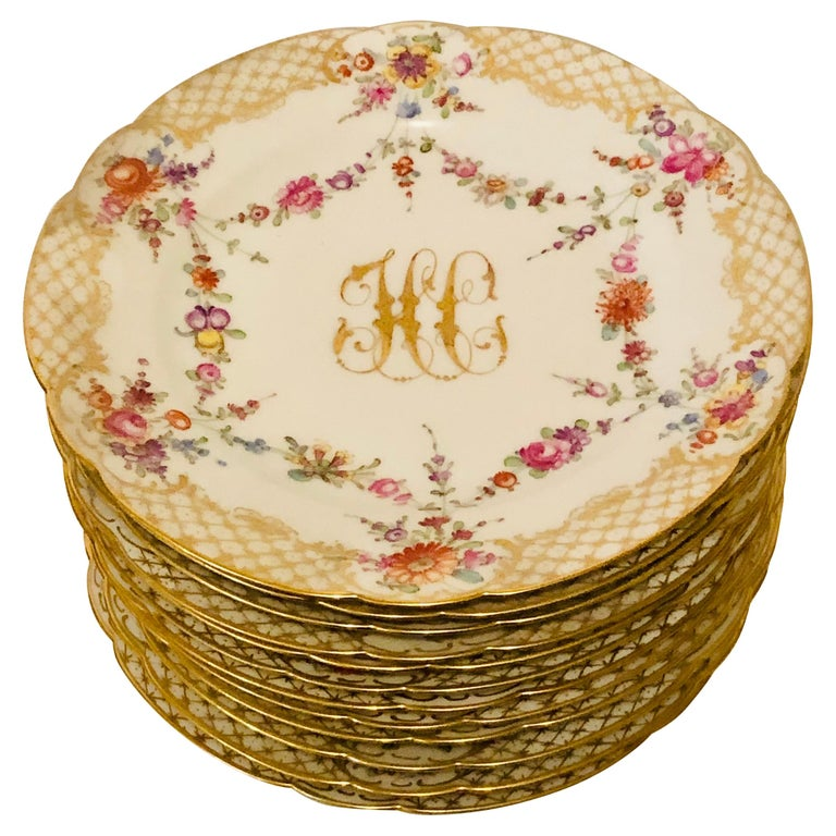 Set of 12 Ambrosius Lamm Dresden Dessert Plates Painted with Ribbons of Flowers