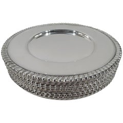 Set of 12 American Art Deco Modern Sterling Silver Bread and Butter Plates