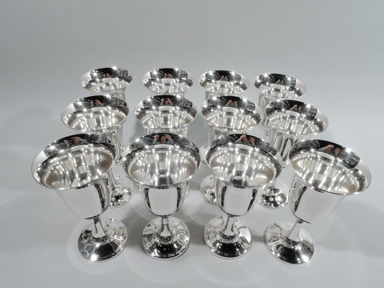 Set of 12 American Modern Sterling Silver Goblets In Excellent Condition For Sale In New York, NY