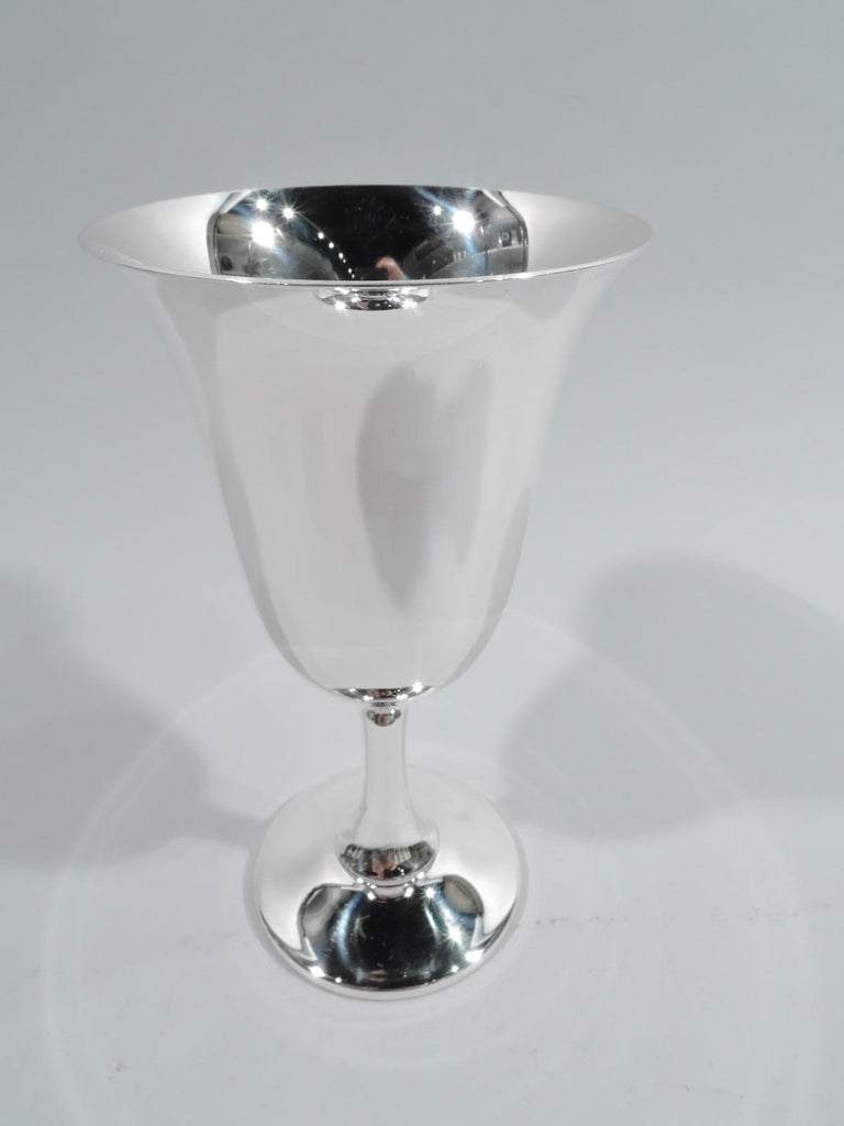 20th Century Set of 12 American Modern Sterling Silver Goblets For Sale