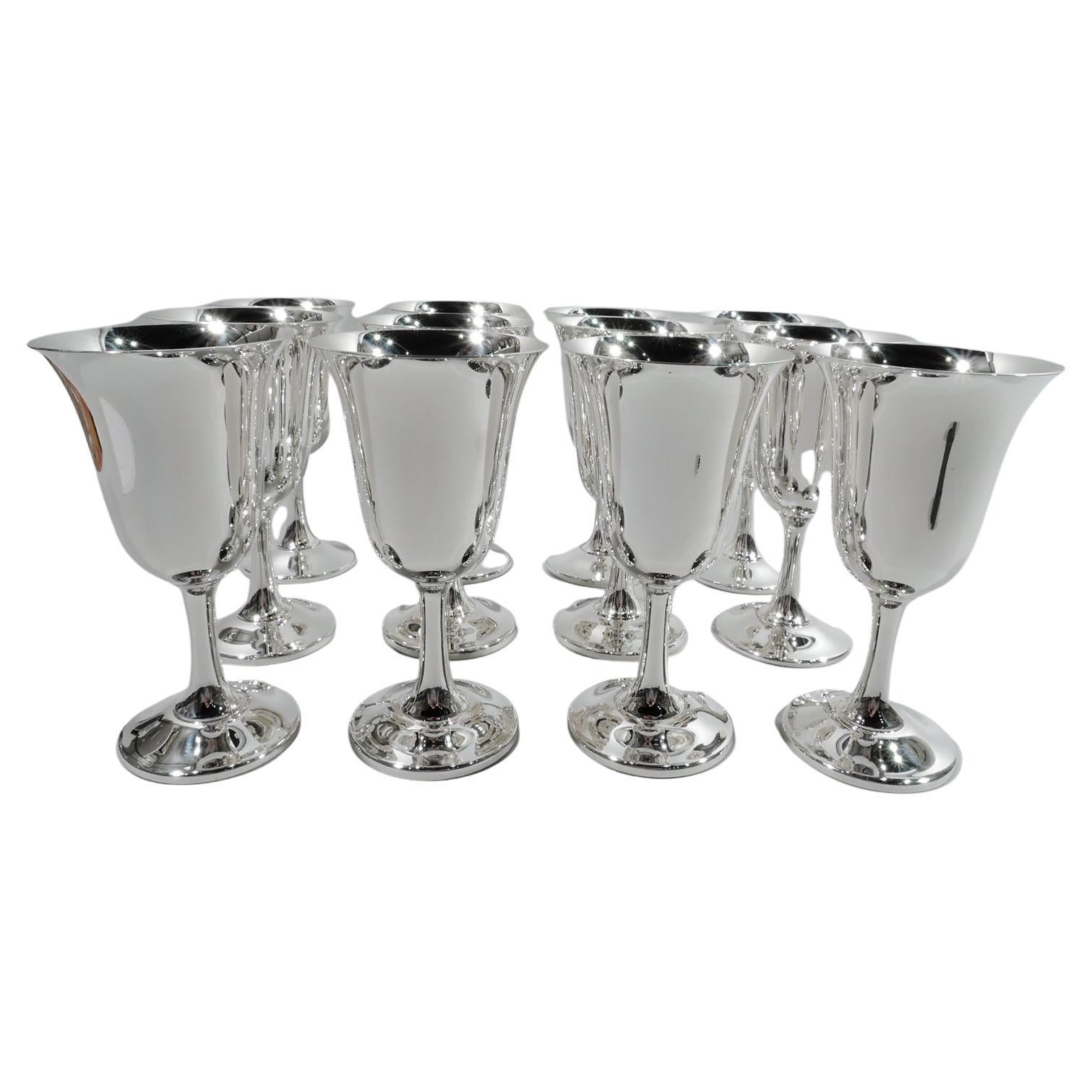 Set of 12 American Modern Sterling Silver Goblets