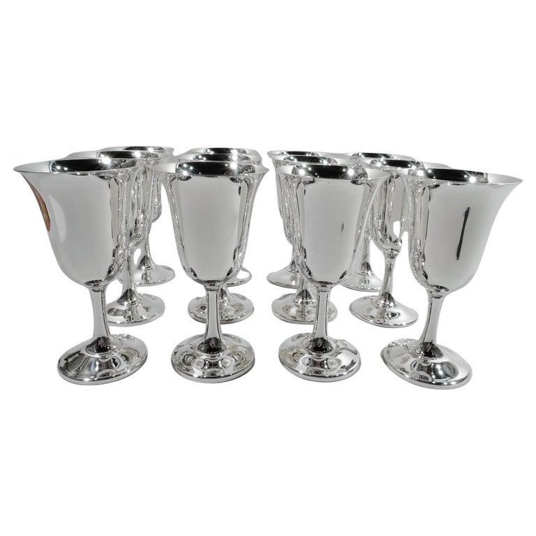 Set of 12 American Modern Sterling Silver Goblets For Sale
