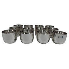 Set of 12 American Sterling Silver Jefferson Cups by JE Caldwell