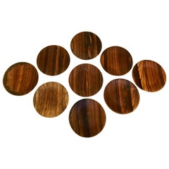 Set of 12 American Studio Rosewood Plates, Signed