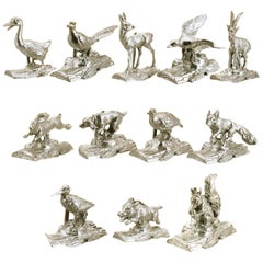 Set of 12 Animals, Placeholder in Sterling Silver: Exclusive SERRA Production