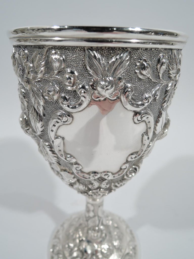 Set of 12 Antique American Sterling Silver Goblets with Baltimore-Style Repousse 4