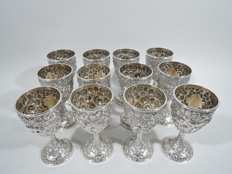 Victorian Set of 12 Antique American Sterling Silver Goblets with Baltimore-Style Repousse
