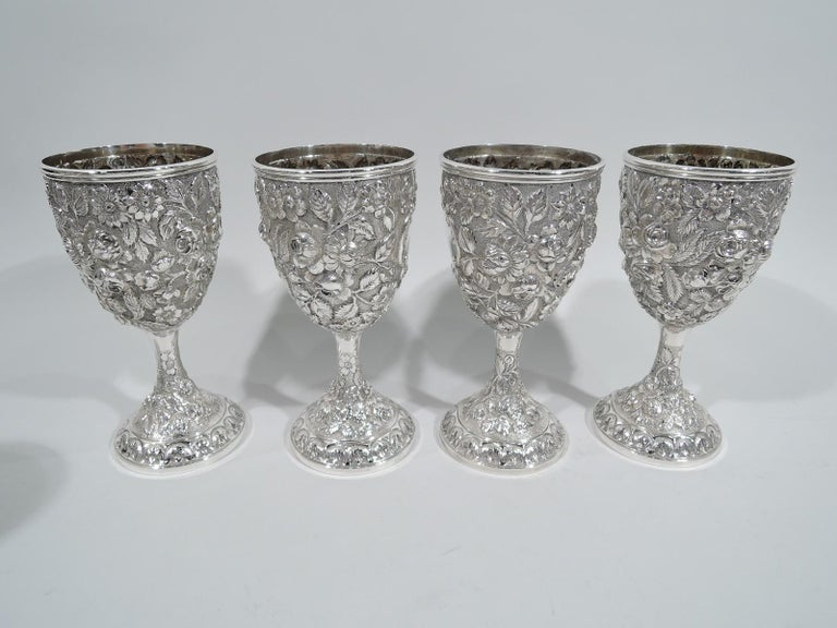 Repoussé Set of 12 Antique American Sterling Silver Goblets with Baltimore-Style Repousse