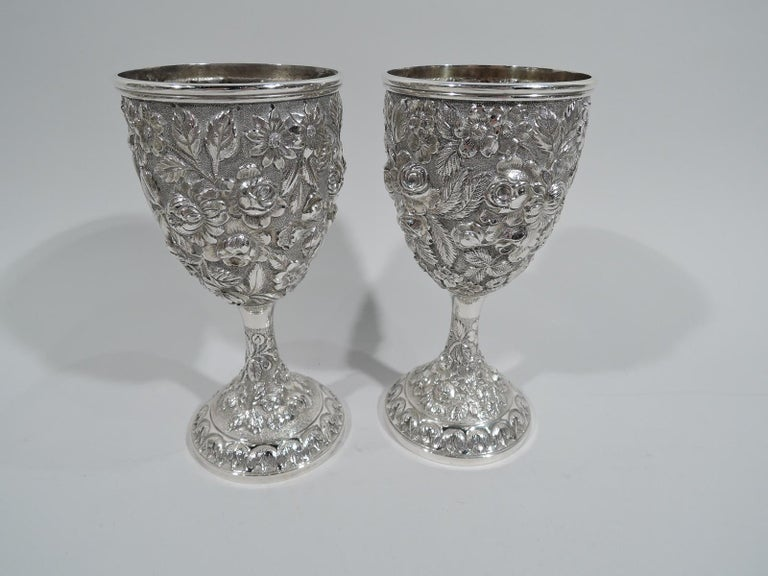 Set of 12 Antique American Sterling Silver Goblets with Baltimore-Style Repousse In Excellent Condition In New York, NY