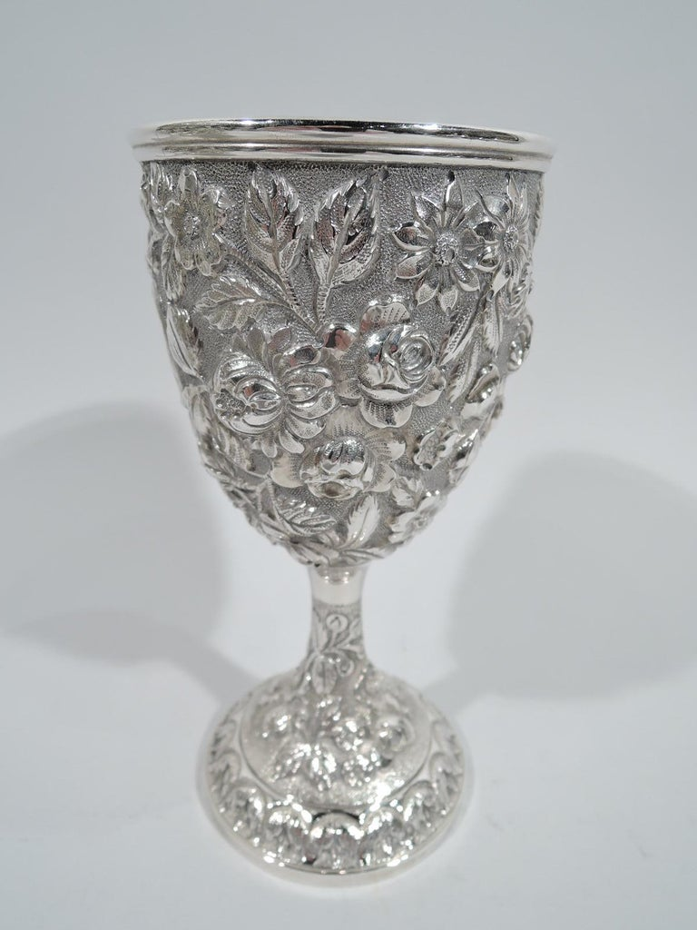 19th Century Set of 12 Antique American Sterling Silver Goblets with Baltimore-Style Repousse