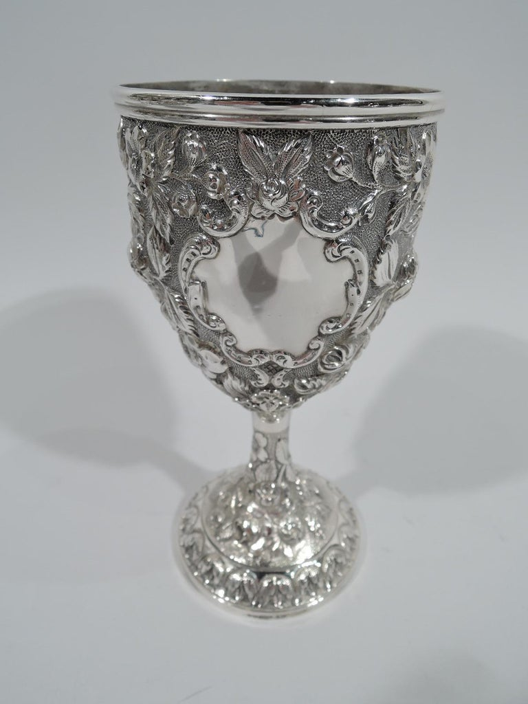 Set of 12 Antique American Sterling Silver Goblets with Baltimore-Style Repousse 1