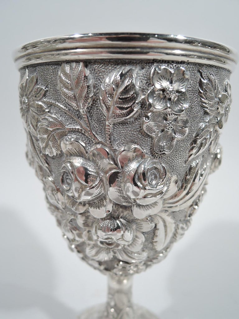 Set of 12 Antique American Sterling Silver Goblets with Baltimore-Style Repousse 2