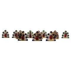 Set of 12 Antique Austrian Gilt & Jeweled Bronze Dinner Place Card Holders